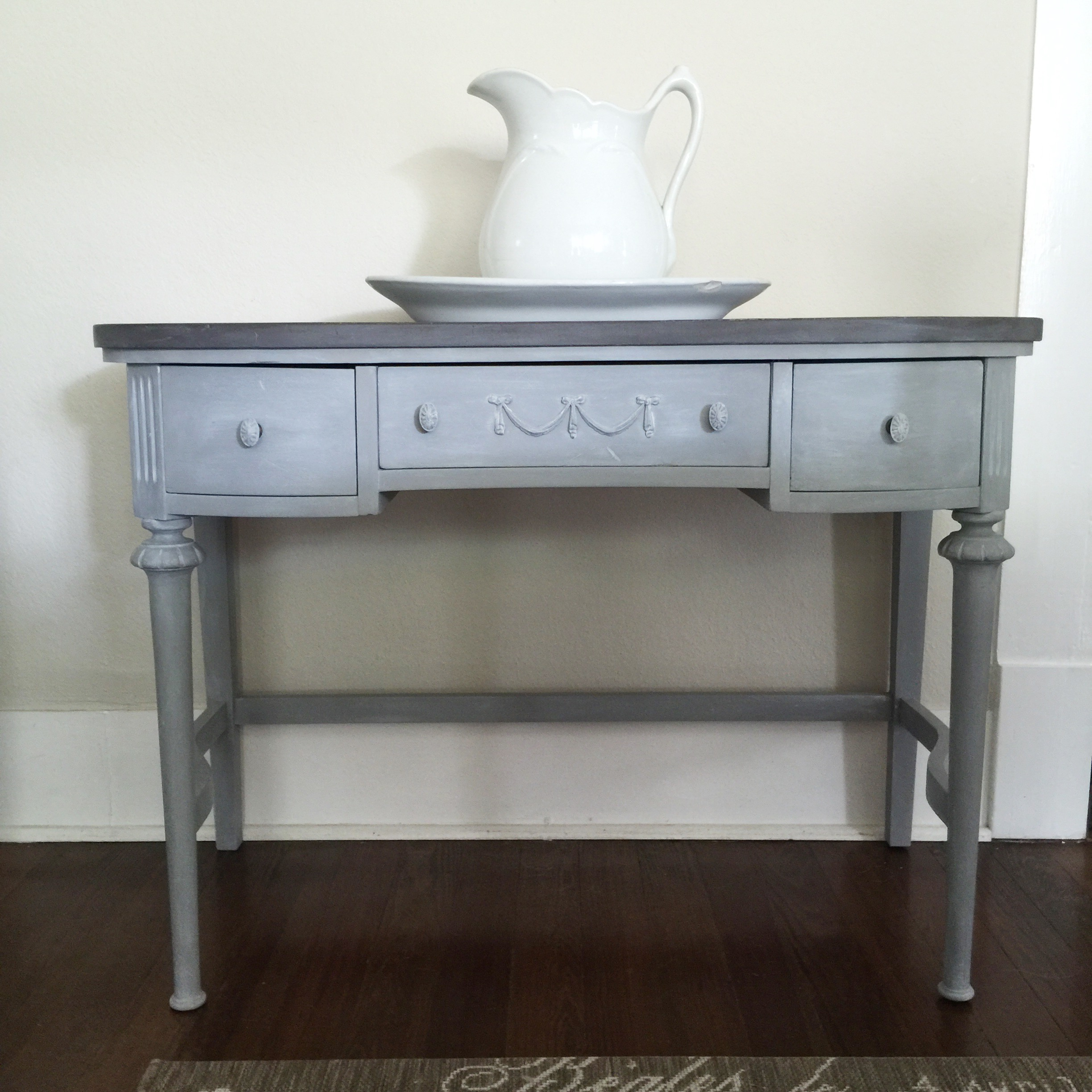 Antique Desk With White Lime Wax