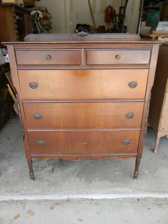 Antique Tall Dresser With Caster Feet