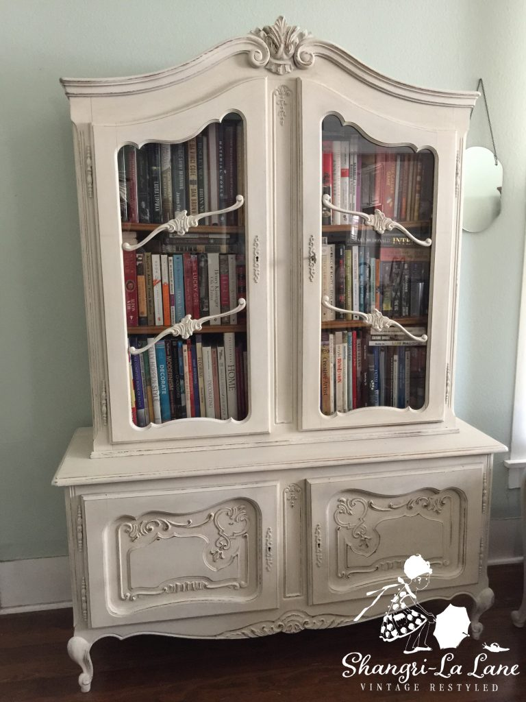 I purchased this antique French cabinet/hutch already refinished and while  it was beautiful as-is I decided it was time to change it up! - French Cabinet With White Lime Wax